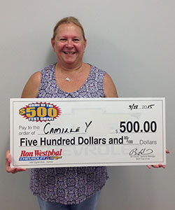 Congrats to Camille! Our first 500 dollar test drive winner!