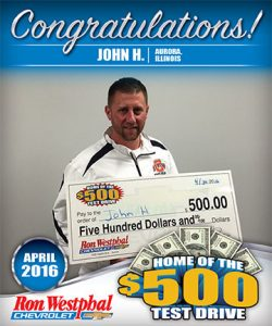 Congrats to John H., April's $500 Test Drive Winner