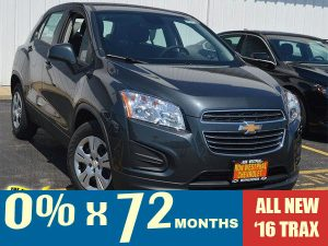 0% financing for up to 72 months on all new 2016 Trax models.