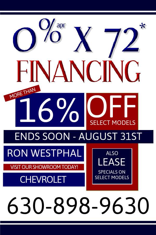 0% x 72 months in August