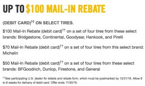$100 tire rebate on select tires at Ron Westphal Chevy in Aurora, IL.
