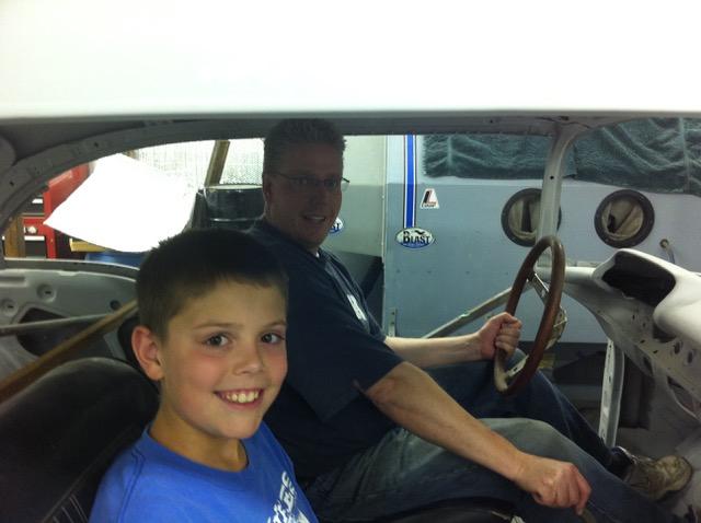 restores 1957 Chevrolet Bel Air inside car